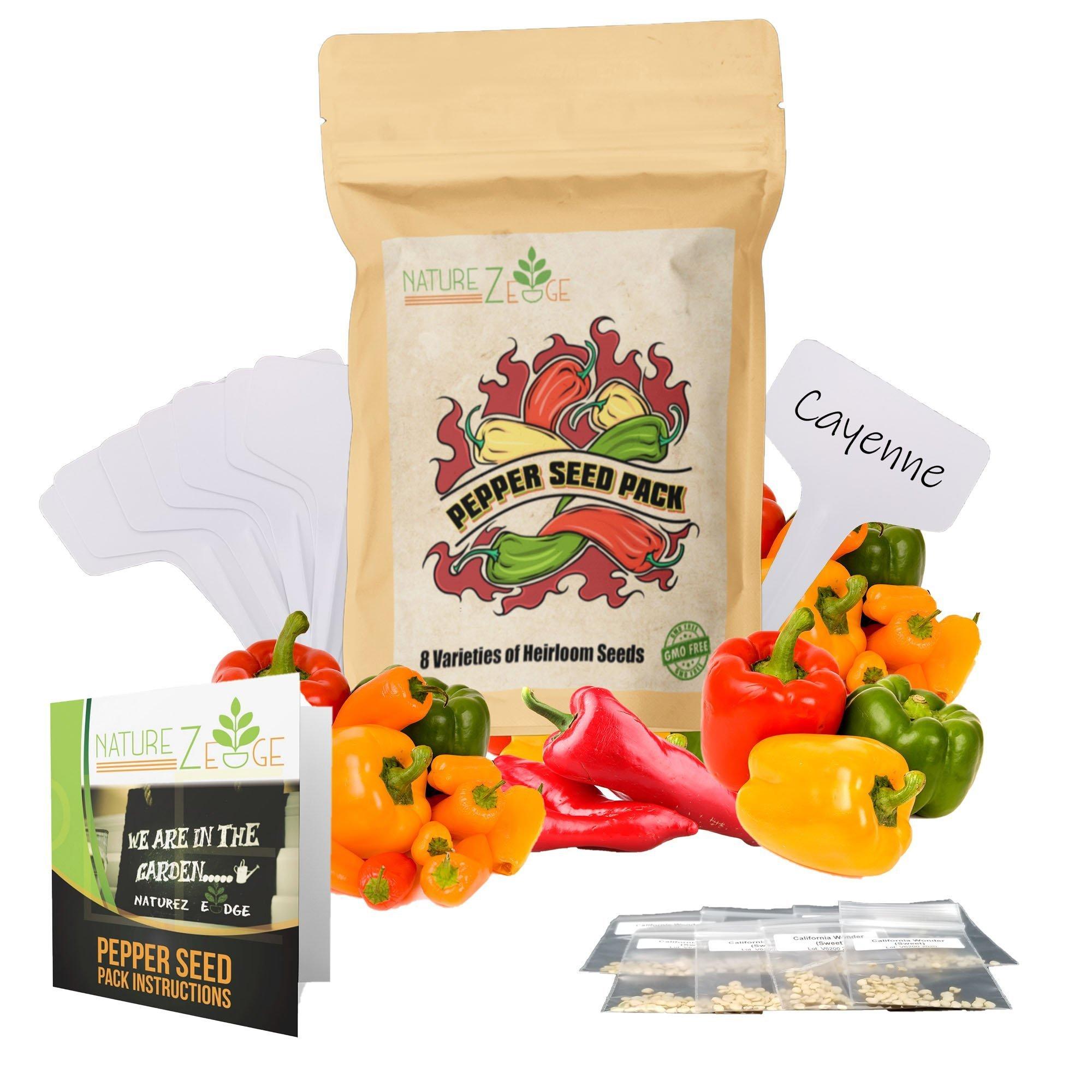 Heirloom Hot Pepper Seeds 8 Variety Pack