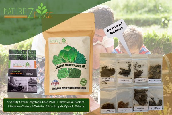 Heirloom Lettuce And Leafy Greens Seed 8 Variety Pack - NatureZedge
